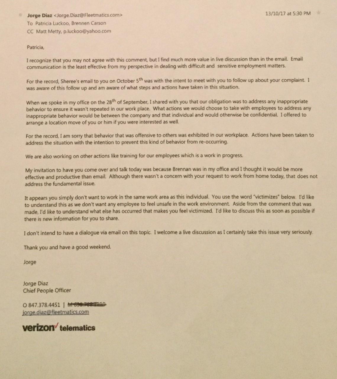 jorge diaz. response to race discrimination complaint